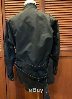 Rare vintage Barbour Beacon A180 motorcycle International Jacket with Belt sz 42