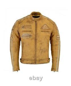 Retro Motorrad Lederjacke Vintage Used Look Motorradjacke Biker Chopper Jacke XL