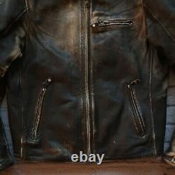 Rev'it Leather Cafe Racer Motorcycle Riding Jacket Size 54 Biker Brown