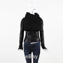 Rick Owens Black Cotton Leather & Alpaca Blend Drape Front Jacket SZ 40