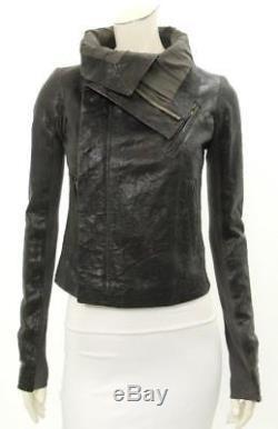 Rick Owens Black Crinkle Leather Moto Jacket Size US 6
