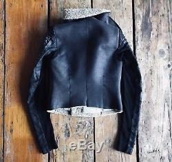 Rick Owens Black Leather Shearling Jacket Corded Rope Sleeves 40 Small
