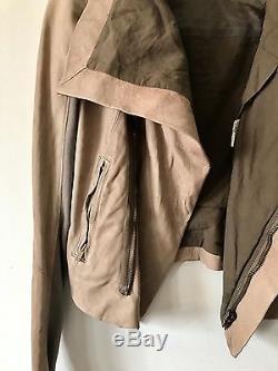 Rick Owens Blistered Side Zip Leather Biker Moto Jacket $2200 Size 4
