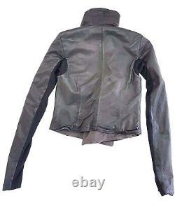 Rick Owens Classic Lambskin Black Leather Biker Jacket Size IT 42 / US 8 Womens