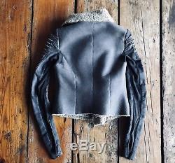 Rick Owens DRKSHDW Leather Shearling Jacket Corded Rope Sleeves 40 Small