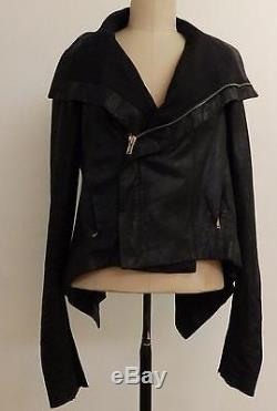 Rick Owens Naska Black Grain Leather Biker Jacket w Peplum sz 44, $2598