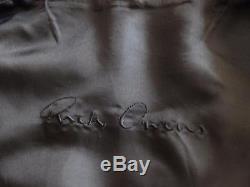 Rick Owens Naska Black Grain Leather Biker Jacket w Peplum sz 44, $2598