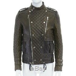 Runway BALMAIN ROUSTEING green quilted leather motorcycle biker jacket EU48 M