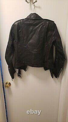 SAINT LAURENT LEATHER BIKER JACKET XS/32 BLACK Retail $4900