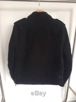 SANDRO SHEARLING BLACK BIKER JACKET Size M L/ RIDER COTTON COAT