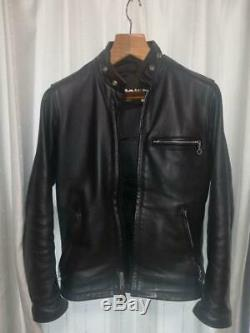 SCHOTT Motercycle Jacket Biker Black Leather Size 32 Mens Authentic USED