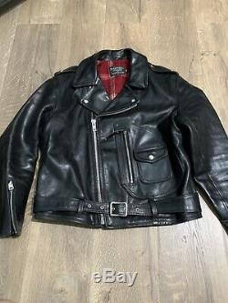 SCHOTT NYC 628US 42 Horween Leather Motorcycle Jacket RARE D Pocket PERFECTO