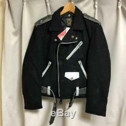 SCHOTT One Star Double Motercycle Biker Jacket Black Size 38 Mens Authentic USED