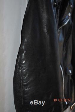 SCHOTT PERFECTO 118 Vintage Men's Black Leather Motorcycle Biker Jacket size 42
