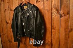 SCHOTT PERFECTO 618 1970's VINTAGE BLACK RIDERS MOTORCYCLE LEATHER JACKET XL-48