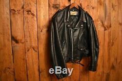 SCHOTT PERFECTO 618 1980's VINTAGE BLACK RIDERS MOTORCYCLE LEATHER JACKET XXL-50