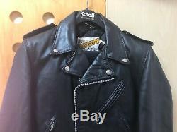 SCHOTT PERFECTO 618 Black Leather Motorcycle Jacket mens size 38