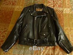 SCHOTT PERFECTO BLACK LEATHER MOTORCYCLE JACKET SIZE 38