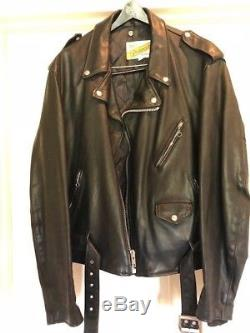 SCHOTT PERFECTO Men's Black Leather Motorcycle Biker Jacket size L 48 Chest
