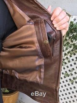 SCHOTT PERFECTO NYC 585 Men's Brown Leather Motorcycle Jacket Coat Sz M