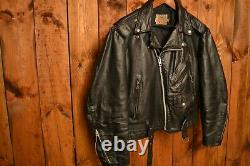 SEARS PERFECTO RARE 1970's VINTAGE BLACK RIDERS MOTORCYCLE LEATHER JACKET L-42