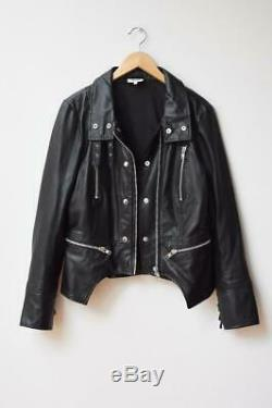 SEED HERITAGE Black Leather Zip Detail Moto Biker Jacket AU14