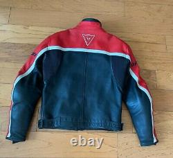 SM Vintage DAINESE Leather Motorcycle Jacket Mens Cafe Racer red and black