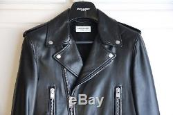 SS13 Saint Laurent Paris Black Leather L01 Biker Jacket Hedi Slimane 48 46