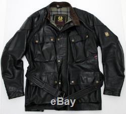 STUNNING Belstaff Panther Leather Biker Jacket LARGE BLACK CENTAUR BRAD HERO