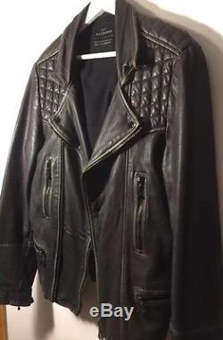SUMMER SALE! ALL SAINTS CARGO Black Gray Sheep Leather Biker Jacket Men's S