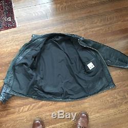 SZ 40 Med VTG LANGLITZ Leather Motorcycle Biker Jacket Cafe Racer Black Crescent