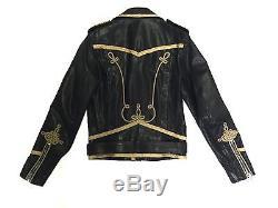 Saint Laurent Mens Gold Embroidered Officer Motorcycle Biker Leather Jacket