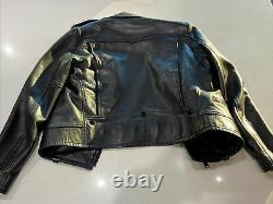 Saint Laurent Paris Black Leather & Black Hardware Motorcycle Jacket S 40 Italy