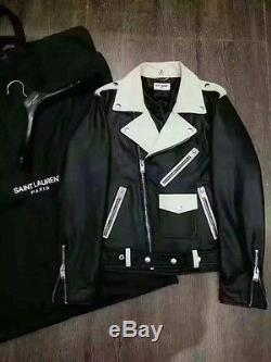 Saint Laurent Paris Men's Motorcycle Black Leather Jacket Size 48