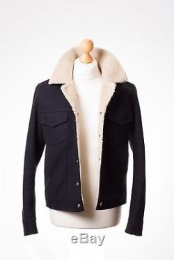 Sandro Paris Mens Black Wool Sherpa Lined Jacket Trucker Size L VGC