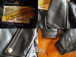 Schott618 perfecto Size40 steerhide leather double motorcycle jacket003