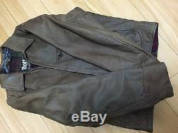 Schott 130 36 NYC nubuck brown leather single motorcycle jacket caferacer 641642