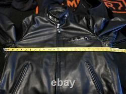 Schott 141 Classic Racer Leather Motorcycle Jacket mens size 44 black made in US