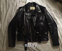 Schott 618 HH Horsehide Black Asymmetrical Moto Jacket 42 Medium Large Msrp $790