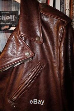 Schott 626 Brown Lightweight Fitted Cowhide Motorcycle Jacket Medium