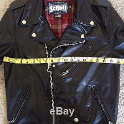 Schott 626 XS 34 Black Lightweight Fitted Cowhide Motorcycle Jacket Double Rider