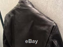 Schott 641HH black horsehide leather motorcycle jacket size 38