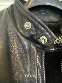Schott 641 Cafe Racer Steerhide Black Leather Motorcycle Jacket Size 44 (Large)