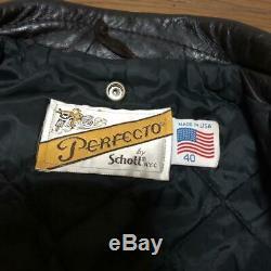 Schott Double Riders Jacket Outer Blouson Men's 40 Star Studs Lot 618 Biker USED