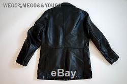 Schott Horsehide Trench Coat Black Leather Motorcycle with Inner Jacket sz 36