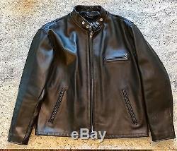 Schott NYC 141 Classic Racer Leather Motorcycle Jacket, Black Men's 46 ($745)