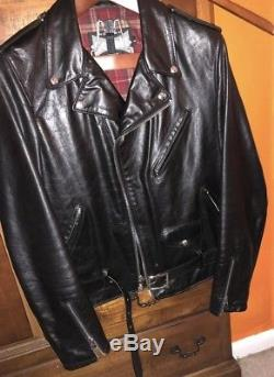 Schott NYC 626 Mens Perfecto Cowhide Leather Moto One Star Jacket Large $795