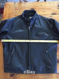 Schott NYC Black 141 Leather Cafe Racer 46 Mens USA Motorcycle Biker Jacket