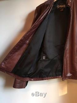 Schott NYC Casual Racer Leather Jacket, black cherry, model 654, size M