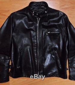 Schott NYC Early 641HH HORSEHIDE Size 48 Cafe Racer Moto Jacket Black Horsehide